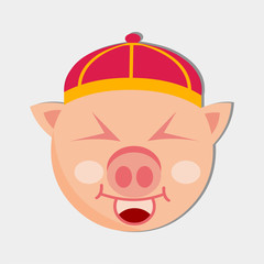 pig smile avatar wearing chinese hat vector illustration