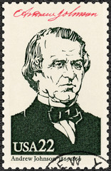 USA - 1986: shows Portrait of Andrew Johnson (1808-1875), 17th president of the United States, series Presidents of USA