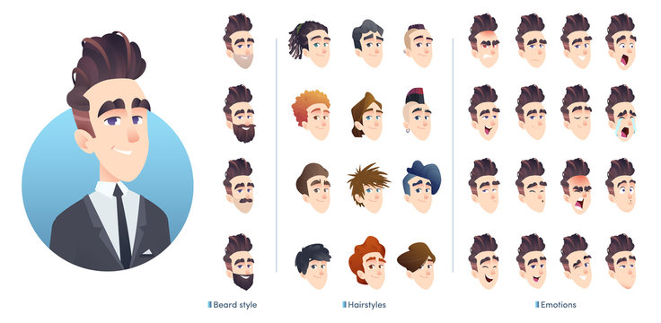 Business character avatar kit, different hairstyles, facial expression and beard. Collection of male facial emotions.