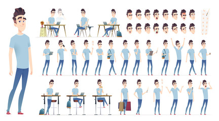 Young man character collection. Set of different poses and situation. Modern flat cartoon style. Wall mural