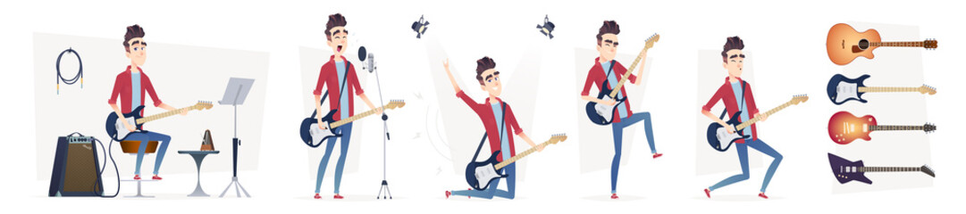 Guitarist in different dynamic poses. Guitar player performance. Design in a modern cartoon flat style.