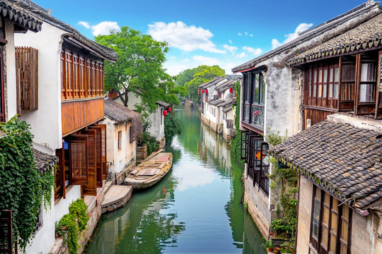 canal in zhouzhuang town china