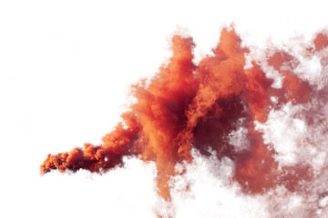 Red and orange smoke isolated on white background