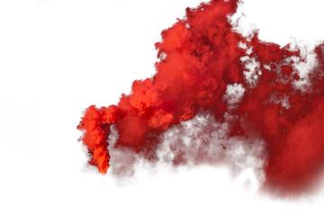 Garden Poster Smoke Red and orange smoke isolated on white background