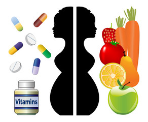 Supplements during pregnancy. Healthy diet like fruits and vegetables and extra vitamins for enough daily nutrients