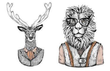 Cartoon stylish animals dressed in fashion clothes