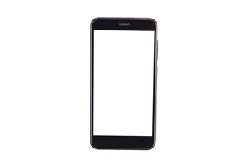 Single black smartphone with isolated blank white screen isolated on white background. Clipping path - image. Top view