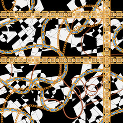 Baroque seamless pattern with chains and leaves. Vector patch for print, fabric, scarf.