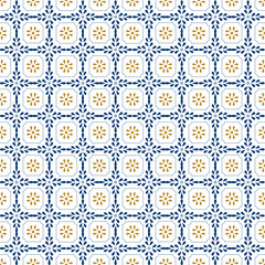 Mediterranean decor pattern. Lisbon tile ornament, decorative floor tiles mosaic. Blue and gold seamless pattern vector illustration