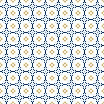 Mediterranean decor pattern. Lisbon tile ornament, decorative floor tiles mosaic. Blue and gold seamless pattern vector illustration