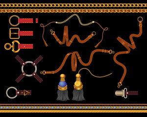 Chains and belts set. Vector baroque templates for fabric, scarf.