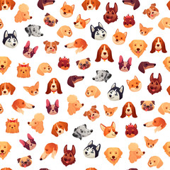 Seamless dogs faces. Funny dog face, puppy pet head and animals group vector background pattern