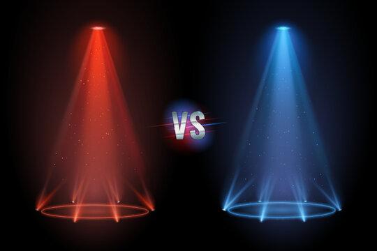 Versus flooring. Battle projector shining pedestal floor for vs boxing confrontation match. Vector illustration