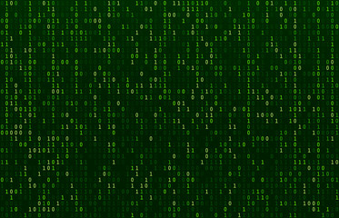 Matrix code stream. Green data codes screen, binary numbers flow and computer encryption row screens abstract vector background