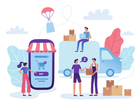 Online store delivery. Web shop retail purchase shiping, goods market purchasing and shopping business vector illustration