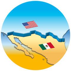 Usa and Mexico border wall map with national flags, vector illustration