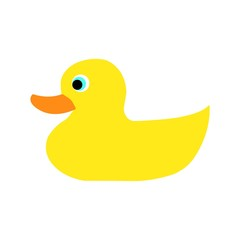 Flat icon of yellow baby duck isolated on white background. Vector illustration.