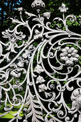 Iron Fence With Floral Decor