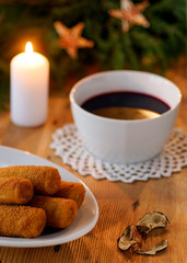 Polish Christmas red borscht with mushroom and cabbage croquets