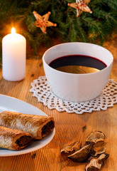 Polish Christmas borscht with mushroom and cabbage pastry homemade