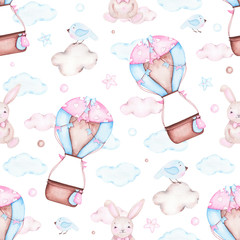 Watercolor seamless pattern with hot air balloon bunny
