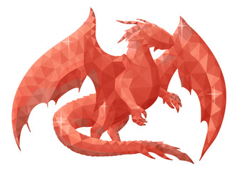 Low poly illustration with red dragon silhouette