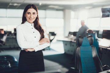 One female specialists staying on work office