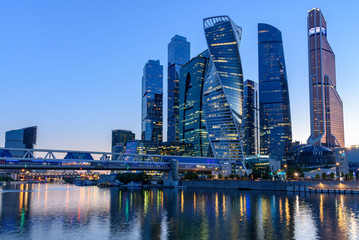 Wall Mural - View of the buildings of the business district of Moscow - Moscow City