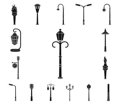 Lamp post black icons in set collection for design. Lantern and lighting vector symbol stock web illustration.