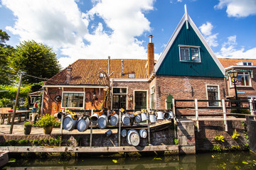 View of typical home along canal in the cheese-making town of Edam Holland
