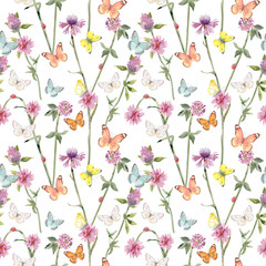 graceful seamless texture with ladybugs on meadow flowers and flying butterflies. watercolor painting
