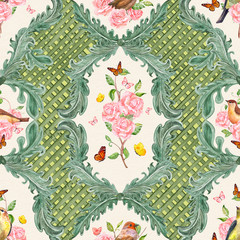 elegant seamless texture with natural floral scroll filigree and butterflies. watercolor painting