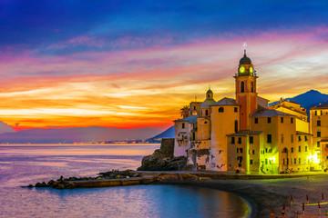 Spoed Foto op Canvas Liguria The tourist resort of Camogli on the Italian Riviera