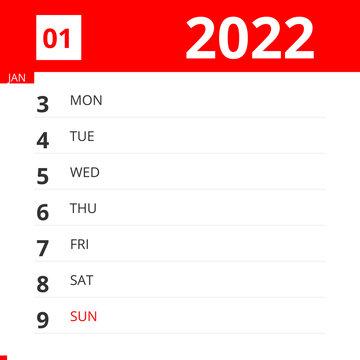 Calendar planner for Week 01 in 2022, ends January 9, 2022 .