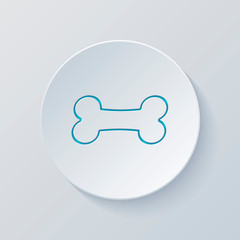 Dog bone icon. Cut circle with gray and blue layers. Paper style