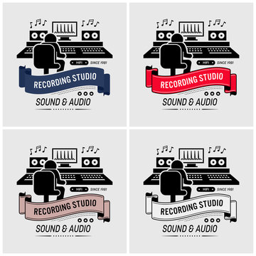 Recording studio and sound engineering logo design. Vector artwork of a music composer mixing and editing sound in an audio room with all the professional equipments