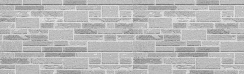 Panorama of white modern stone wall texture and background