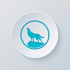 wolf. simple icon. Cut circle with gray and blue layers. Paper s