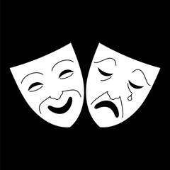 Comedy and tragedy theater masks icon. Concepts for objects for Art and shows. Vector illustration