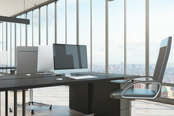 Office interior with computer