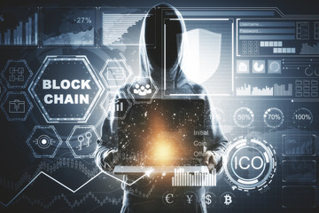 Hacking and cryptocurrency concept