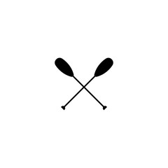 Two black silhouette of crossed oars. Flat vector icon isolated on white.
