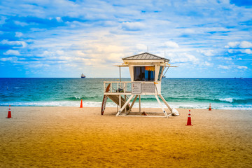 Lifeguard tower on the beach, Fort Lauderdale, Florida