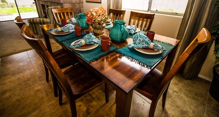 Wooden Table And Chairs Eating Area