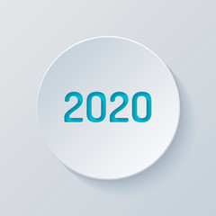 2020 number icon. Happy New Year. Cut circle with gray and blue