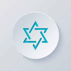 Star of david, simple icon. Cut circle with gray and blue layers