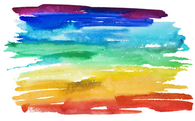 Hand drawn watercolor rainbow illustration in support of lgbt right. Cut out on white background symbol of freedom.
