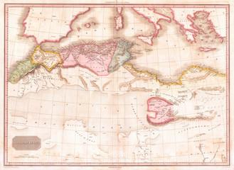 1818, Pinkerton Map of Northern Africa and the Mediterranean, John Pinkerton, 1758 – 1826, Scottish antiquarian, cartographer, UK
