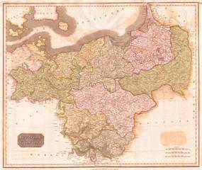 1815, Thomson Map of Prussia, Germany, John Thomson, 1777 - 1840, was a Scottish cartographer from Edinburgh, UK