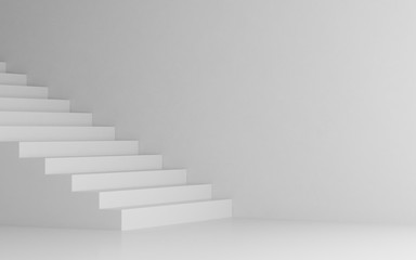 View of white stairs on white background,Concept of the way to success. 3D rendering Fototapete